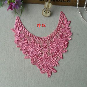 1pc Pink Rayon Embroider Sewing Venise Applique Trim DIY Cloth Neck Collar D854