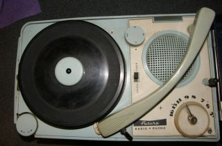 Vintage Portable Futura Radio Phonograph 1950's Record Player Blue