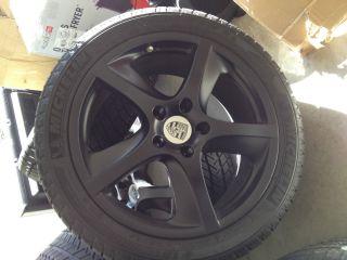 "New Set 20"" Custom Flat Black Porsche Cayenne Wheel Tire Sensor Cap Set"