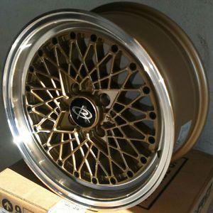 15 Rota OS Mesh Gold Rims Wheels Tires Civic Integra Jetta Fit Miata Falken 912