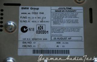 BMW E46  Business CD Player Radio Stereo Am FM CD53 325 328 330 M3 HK Alpine