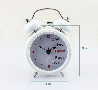 White Farm Vintage Metal Letter Twin Double Bell Desk Table Alarm Clock
