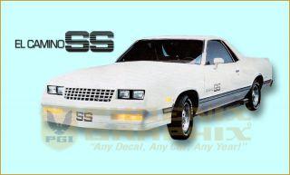 1984 1985 1986 1987 El Camino SS Super Sport Choo Choo Custom Decals Stripes Kit