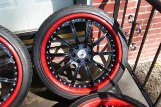 "Cts V STS V asanti 20"" AF 134 Black Red Wheels Tires"