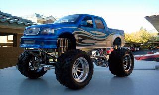 1 18 Lifted Ford F 150 Blue 4x4 Pickup Monster Truck Dub City Big Wheels Diecast