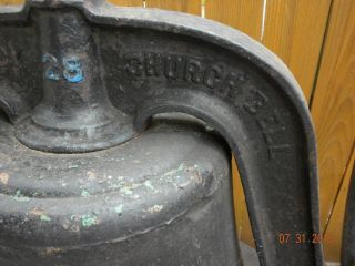 "1892 Church School Bell 28"" 122 Year Old Antique Cast Iron Cradle Yolk Wheel"