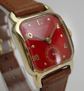 Gorgeous 1950s Hamilton Carlton 747 Red Dial Mens Wrist Watch