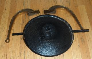 Antique Vtg Primitive Farm Barn School Church Dinner Mountable Cast Iron Bell