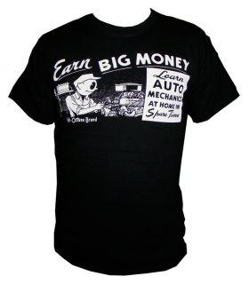 3XL Earn Big Money Shirt Rat Hot Rod Ford Custom Gasser Drag Racing Octane