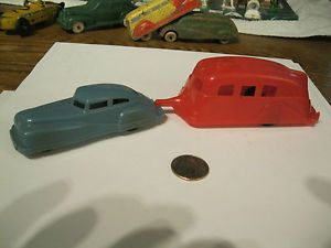 Thomas Acme Vintage Hard Plastic Toy Rubber Tires Car Travel Trailer 1950s