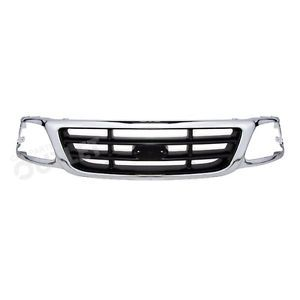1999 2003 Ford F 150 Pickup Chrome Grille Frame Black Bar 2WD 2004 F Heritage XL