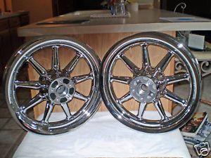 "Harley Davidson 16"" 9 Spoke Chrome Wheels 00 08"