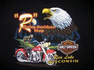 Vtg 90s Harley Davidson Wolf Biker Eagle T Shirt Sz L
