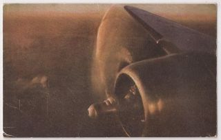 Vintage United Airlines Aviation Postcard Above The Clouds View w Engine 1950s