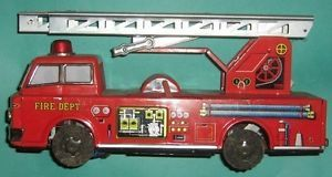 Vintage Japan Yonezawa Toy Fire Truck Engine Tin Battery Operated FD Ladder Car