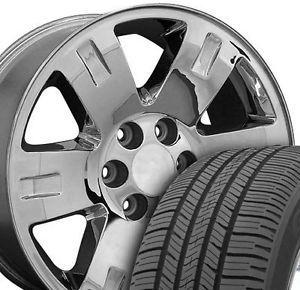"20"" x 8 Chrome Yukon Wheels Goodyear 275 55 Tires Rims Fit GMC Cadillac Chevy"