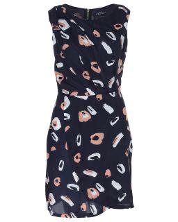 Blue Inc Womens Sleeveless Block Printed Pleated Drape Skirt Dress Navy Blue
