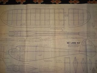 """So Long 54"""" Old Timer 1940 Model Airplane Plan 54"""" Wing Span Ignition 29 Engine"""