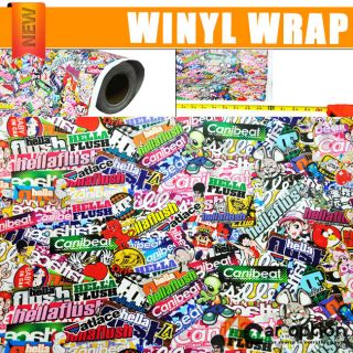 "30"" x 59"" JDM Cartoon hellaflush Graffiti Sticker Bomb Vinyl Wrap Sheet Decal"