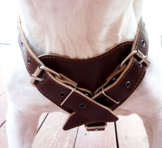 "Amstaff 24"" 30"" Leather Dog Pulling Harness Pit Bull Rottweiler"