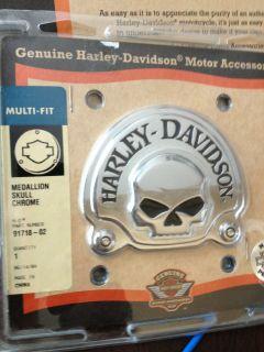 Harley Davidson Chrome Skull Medallion Multi Fit