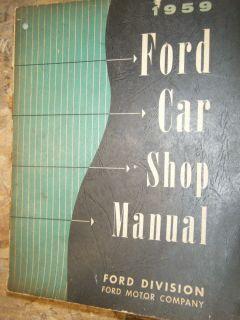 1959 Ford Fairlane Galaxie 500 Ranchero Original Factory Service Manual Shop