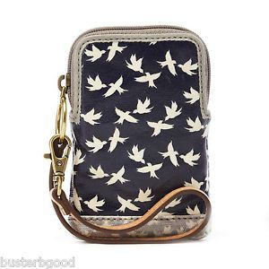 Fossil Key per Carry All Phone Case Navy Blue Bird Design