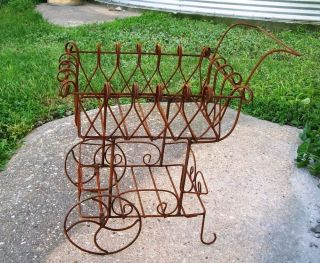 Rustic Wrought Iron Cart Metal Flower Carts Garden Flower Container