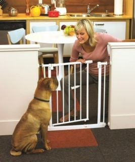 North States Easy Close Pressure Mount Metal Pet Dog Gate White NS4991S