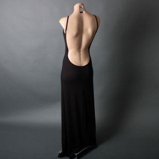 Minimalist Backless Open Back Casual Lounge Jersey Slip Long Maxi Dress Sz s M L