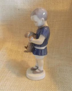 Bing Grondahl B G Denmark Figurine 1747 Boy Holding Puppy Dog