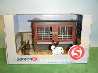 Schleich Retired Rabbit Hutch 41216 w 2 Retired Rabbits 13121 13127 New