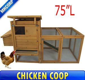Farm Poultry Wooden Chicken Coop Rabbit Hen House Backyard Hutch Box