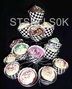 Cupcake Wrapper Checkered Black and White Check Racing Car Birthday Party Cases