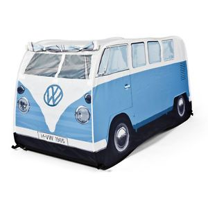 Official VW camper Van Kids Pop Up Play Tent with UV Protection Blue