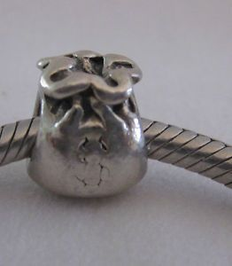 "Authentic Genuine Solid Silver 925 Ale Pandora ""Money Bag"" Charm Bead 790332"