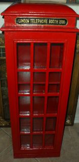 ... Red London Phone Booth Storage Tower Media Cabinet CD DVD Video Game  Shelves ...