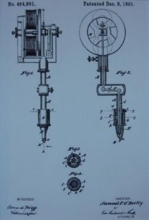 USA Patent Drawing Edison 1st Electric Tattoo Machine Mounted Print 1891 Gift