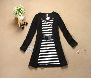 Sexy Womens Junior Summer Casual Mini Dresses Stripes Short Black Fashion Dress