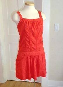 Roxy Bright Orange Drop Waist Swiss Dot Lace Sun Casual Dress Cover Up S