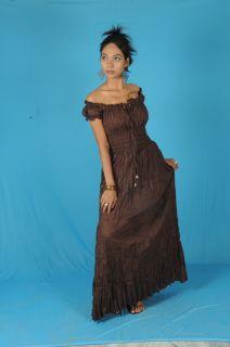 Brown Cotton Peasant Sun Long Maxi Boho Hippie Gypsy Casual Beach Dress s M L
