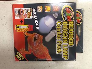 Zoo Med Bearded Dragon Terrarium UVB Heat Bulb Combo Pack Free Thermometer