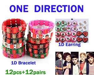 Sale 12pcs Wood Bracelet AND12PAIRS Wooden Earring 1D One Direction Jewelry Set