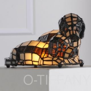 "Tiffany Style Stained Glass Accent Lamp ""Puppy Love"""