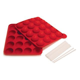 Red Silicone Cake Pop Pan and Stand w 20 Reusable Sticks Fun Easy Cakepops New