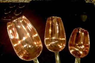 Set of 3 Copper Brass Measuring Scoops Cup Pan Kitchen Utensil Pot Graduated
