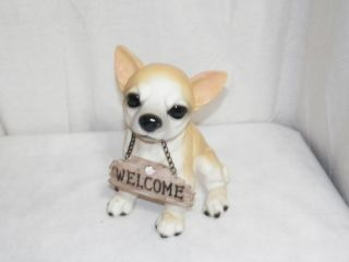 """New Collectible Chihuahua Dog Puppy Welcome Sign Decoration Statue Figure 8 5"""""""