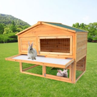 Portable Rabbit Hutch Wooden Hen Chicken Coop House Wood Pet Cage