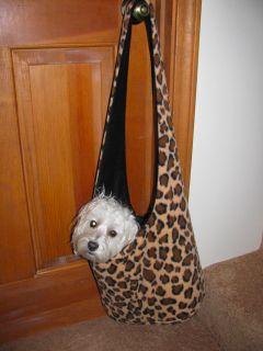 Velour Animal Leopard Print Dog Pup Pet Carrier Sling Shoulder Bag Pouch