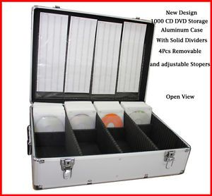 1000 CD DVD Silver Aluminum Media Storage Case Mess Free Holder Box with Sleeves
